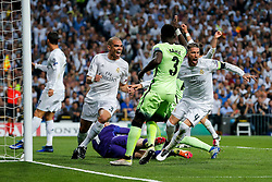 Pepe and Sergio Ramos of Real Madrid celebrate a goal but it is ruled offside - Mandatory byline: Rogan Thomson/JMP - 04/05/2016 - FOOTBALL - Santiago Bernabeu Stadium - Madrid, Spain - Real Madrid v Manchester City - UEFA Champions League Semi Finals: Second Leg.