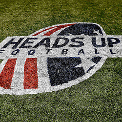 Aug 16, 2013; New Orleans, LA, USA; A detail of the Heads Up Football logo on the field for a preseason game between the New Orleans Saints and the Oakland Raiders at the Mercedes-Benz Superdome. The Saints defeated the Raiders 28-20. Mandatory Credit: Derick E. Hingle-USA TODAY Sports