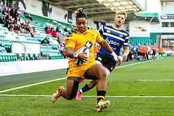 Paolo Odogwu of Wasps scores a try - Mandatory by-line: Robbie Stephenson/JMP - 13/09/2019 - RUGBY - Franklin's Gardens - Northampton, England - Bath Rugby 7s v Wasps 7s - Premiership Rugby 7s