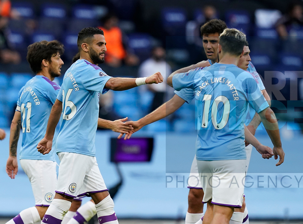 Riyad Marhez of Manchester City celebrates scoring the second goal during the Premier League match at the Etihad Stadium, Manchester. Picture date: 22nd February 2020. Picture credit should read: Andrew Yates/Sportimage