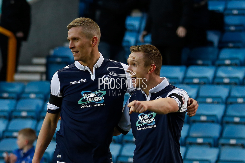 Millwall FC Midfielder Shane Ferguson is joined by Millwall FC Forward Aiden O'Brien during the Sky Bet League 1 match between Millwall and Colchester United at The Den, London, England on 21 November 2015. Photo by Andy Walter.