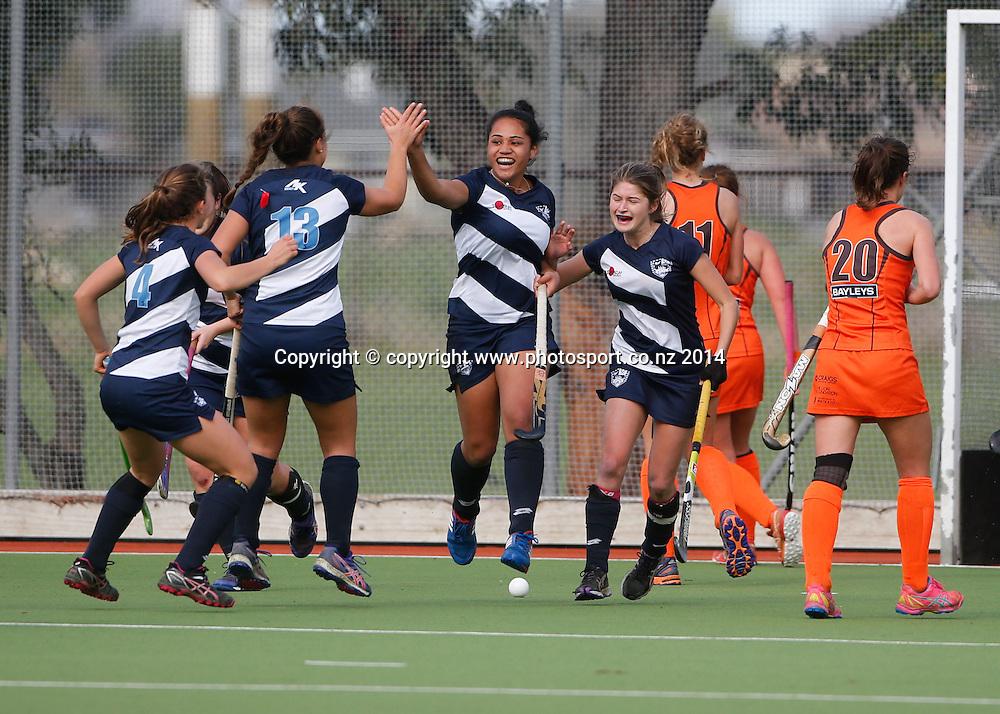 Auckland celebrate a goal. Auckland v Midlands, Final - Womens National U18 Regional Hockey Tournament, Napier, New Zealand. Saturday, 12 July, 2014. Photo: John Cowpland / photosport.co.nz