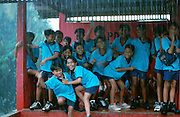 School boys trapped by a sudden monsoon downpour near Sidemen.
