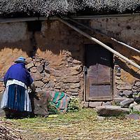 South America, Bolivia, Pariti. Woman on farm on Pariti Island.