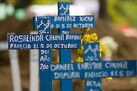 Several graves of Panabaj, Guatemala townspeople, killed in a massive mudslide on October 5, at the cemetery in nearby Santiago Atitlán, Guatemala on Tuesday, Nov. 1, 2005, part of the traditional Day of the Dead. Torrential rains and mudslides associated with Hurricane Stan devasted some parts of western Guatemala in early October. The Guatemalan government has put the number of dead at 669, and says that 31, 971 people are living in shelters. Locals say at least 500 people were killed at Panabaj.