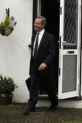 © Licensed to London News Pictures. 26/05/2014<br />  Nigel Farage this morning outside his Biggin Hill home in Kent.<br /> Nigel Farage  leaving his home (11.30am) in Biggin Hill this morning (26.05.14) after a great night at the European elections and heading to London for a Press Conference at 2pm.<br /> Photo credit :Grant Falvey/LNP