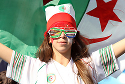 23 JUN 2010:  Female Algeria fan in the stands.  The United States National Team played the Algeria National Team at Loftus Versfeld Stadium in Tshwane/Pretoria, South Africa in a 2010 FIFA World Cup Group C match.