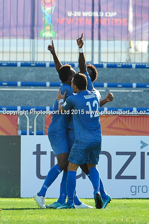 Iosefo VEREVOU of Fiji (c) celebrates his goal during the FIFA U20 World Cup, Germany v Fiji, at Stadium Christchurch, 1 June 2015. Copyright Photo: John Davidson / www.Photosport.co.nz