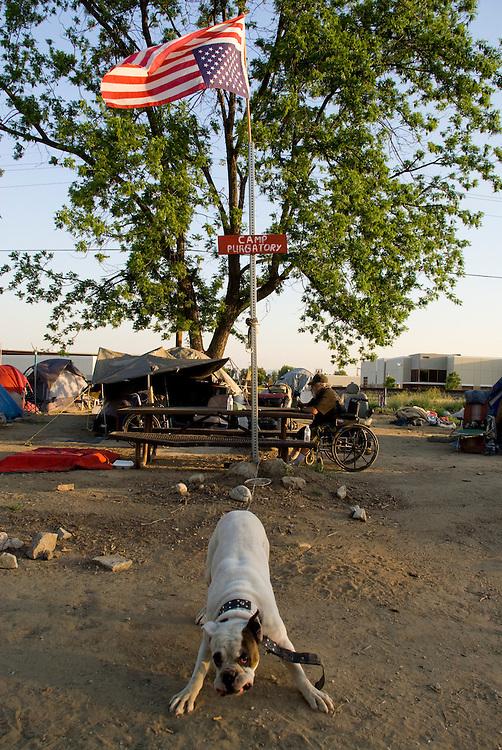 "Camp Hope, eine Zeltstadt fuer Obdachlose in Ontario, Kalifornien.Die umgekehrte amerikanische Flagge bedeutet ""Notlage"", das Schild besagt ""Camp Fegefeuer""..Fotos © Stefan Falke..Camp Hope, a  tent city for the homeless in Ontario, California.The upside down flag is hissed as a sign of distress, the sign reads ""camp purgatory"""