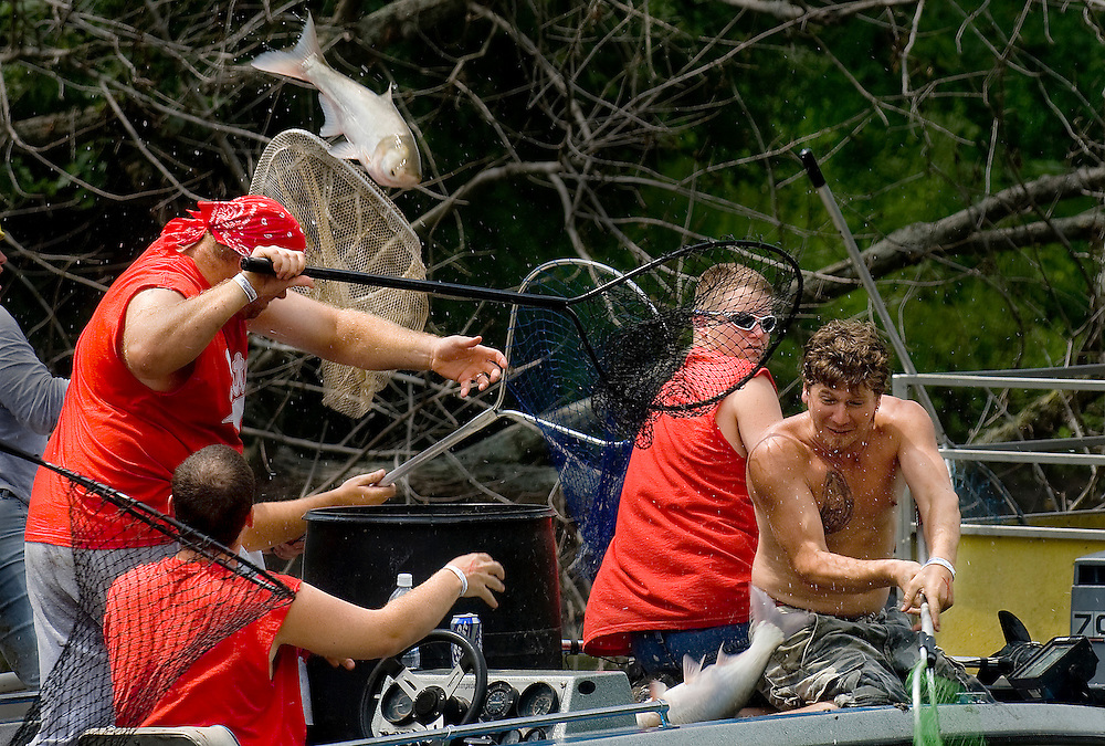 "The team ""Pirates for Hire"" compete in the Redneck Fishing Derby in Bath, Illinois. ©David Zalaznik"