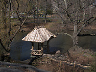 Rustic Shelter at Wagner Cove along The Lake in Central Park.