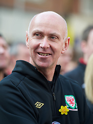 CARDIFF, WALES - Thursday, March 1, 2012: Members of the Football Association of Wales take part in the 10th St. David's Day Parade through the streets of Cardiff. Head of pubic affairs Ian Gwyn Hughes. (Pic by David Rawcliffe/Propaganda)