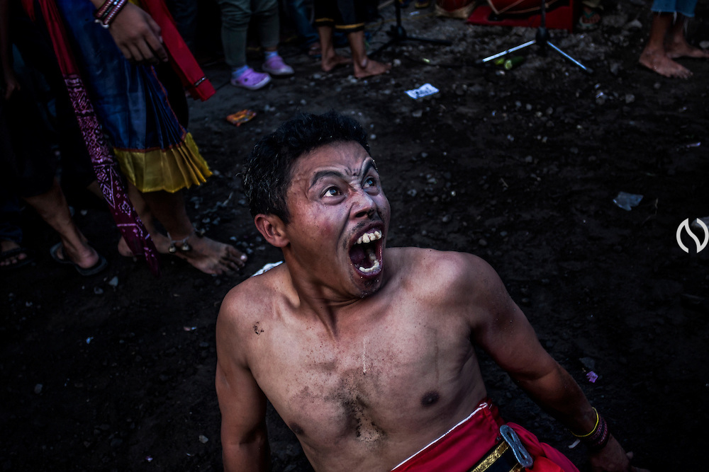 A dancer roars, imitating a tiger, as he gets possesed by spirit that is believed as a tiger during a traditional dance perfomance in Cangkringan, Sleman, Yogyakarta, Indonesia, July 2, 2011. The trance dance perfomance is a part of ritual that held by villagers on the slope of Merapi volcano. In Javanese philosophy, there are two worlds that human should deal with; macrocosm and microcosm. Macrocosm deals with spirituality and mystery, whereas microcosm deals with reality and physic. The aim of life is to harmonize the both. Javanism is a way of living, merely like Hinduism or Buddhism. It is a thought that stresses on inner peace, balance and harmony and it contains complete tools to interpret life whether it is the Sein (Being) or the Werden (Becoming).
