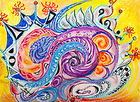 Roundish multicolored shapes on yellow background with circles and concentric shapes, with leaves like and with curved and geometric forms and curls and bended lines on yellow background, with nuances.