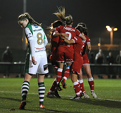 Rosella Ayane of Bristol City Women celebrates with her team mates after scoring - Mandatory by-line: Dougie Allward/JMP - Mobile: 07966 386802 - 23/03/2016 - FOOTBALL - Stoke Gifford Stadium - Bristol, England - Bristol City Women v Yeovil Town Ladies - FA Women's Super League 2