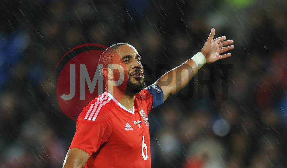 Ashley Williams of Wales - Mandatory byline: Dougie Allward/JMP - 07966 386802 - 13/11/2015 - FOOTBALL - Cardiff City Stadium - Cardiff, Wales - Wales v Netherlands - International Friendly