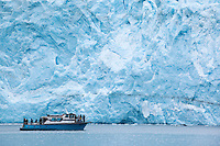 Tourist Boat Tour Cruising Up Near Aialik Glacier, Kenai Fjords National Park, Alaska