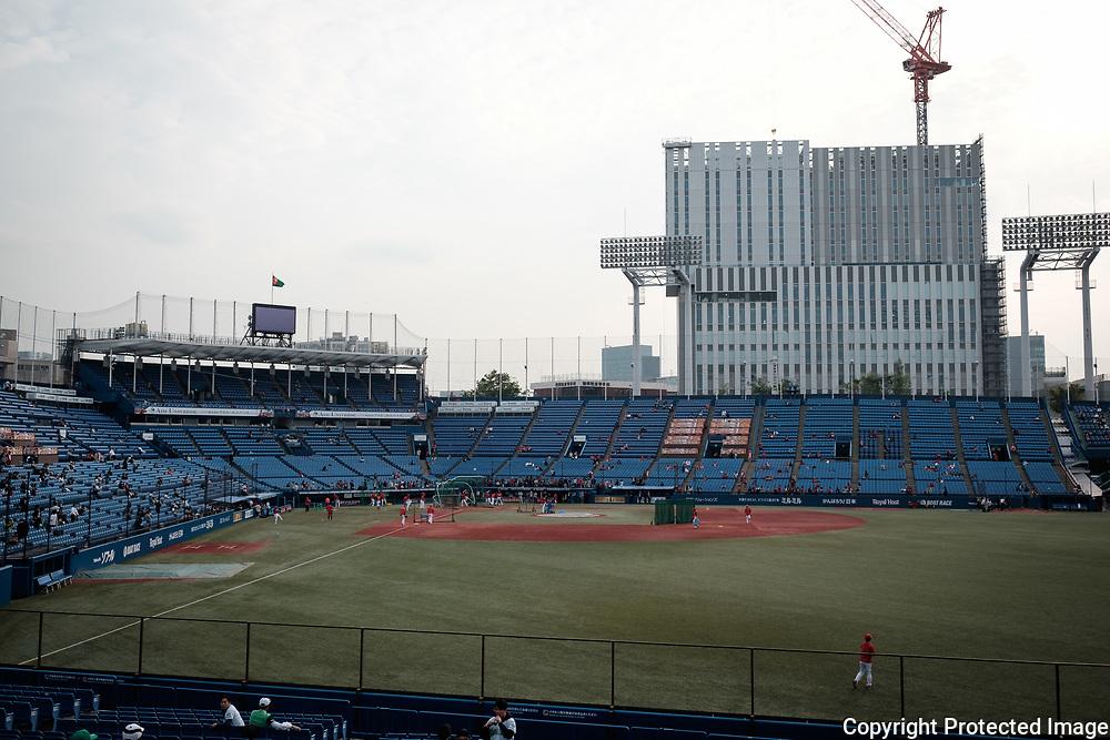 The Jingu Baseball Stadium in Tokyo during a game Tokyo Swallows VS Hiroshima Carp, Japan. 21/04/2017-Tokyo, JAPAN