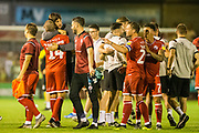 Gabriele Cioffi, Head Coach of Crawley Town FC celebrates the win for Crawley with George Francomb (Crawley Town) following the EFL Cup match between Crawley Town and Norwich City at The People's Pension Stadium, Crawley, England on 27 August 2019.