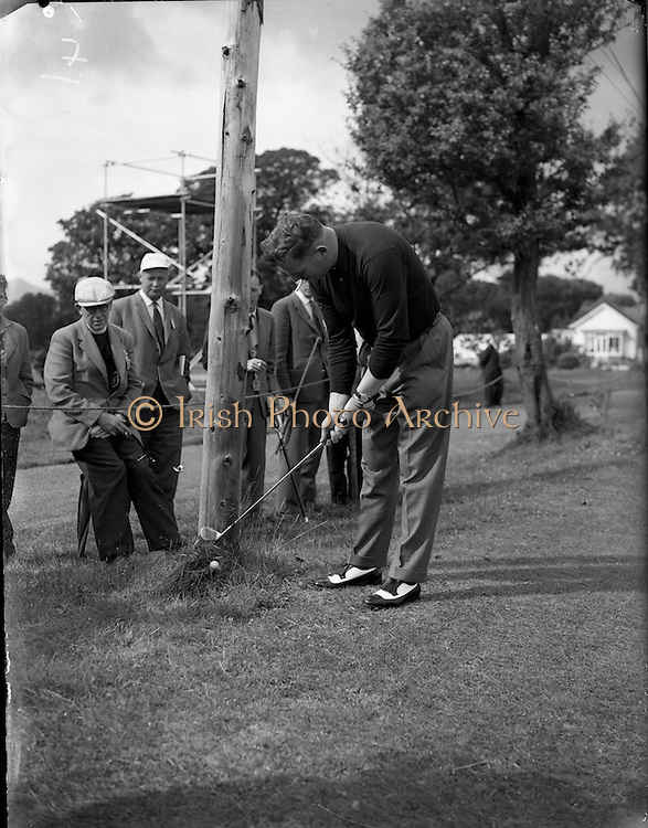 20/07/1962<br /> 07/20/1962<br /> 20 July 1962<br /> Woodbrook Irish Hospitals' Golf Tournament at Woodbrook Golf Course, Dublin. K.P. Wallace (Galway) plays a difficult shot.
