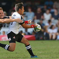 DURBAN, SOUTH AFRICA - MARCH 10: Andre Esterhuizen of the Cell C Sharks tackling Yutaka Nagare of the HITO-Communications Sunwolves during the Super Rugby match between Cell C Sharks and Sunwolves at Jonsson Kings Park Stadium on March 10, 2018 in Durban, South Africa. (Photo by Steve Haag/Gallo Images)