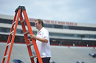 Ole Miss photographer Josh McCoy during the team's media day, in Oxford, Miss. on Friday, August 1, 2014. Mississippi begins practice Saturday morning and opens the season against Boise State in Atlanta on August 28, 2014. (AP Photo/Oxford Eagle, Bruce Newman)