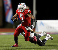 Bishop Dunne's Jordan Butler carries the ball during the TAPPS Division I state championship game on Saturday, Dec. 3, 2016 at Panther Stadium in Hewitt, Texas. Bishop Lynch High School won 21-17. (Photo by Kevin Bartram)