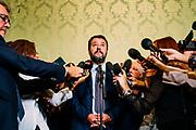 Matteo Salvini parla con i giornalisti al Senato della Repubblica durante la discussione generale per la fiducia al Governo Conte bis. Roma 10 Settembre 2019. Christian Mantuano / OneShot