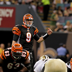 2009 August 14: Cincinnati Bengals quarterback Carson Palmer (9) under center during a preseason opener between the Cincinnati Bengals and the New Orleans Saints at the Louisiana Superdome in New Orleans, Louisiana.