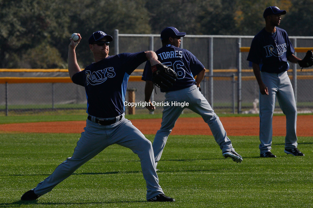 February 20, 2011; Port Charlotte, FL, USA; Tampa Bay Rays starting pitcher Alex Cobb (53) during spring training at Charlotte Sports Park.  Mandatory Credit: Derick E. Hingle