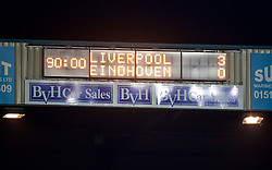 BIRKENHEAD, ENGLAND - Tuesday, December 19, 2017: The scoreboard records Liverpool's 3-0 victory over PSV Eindhoven during the Under-23 FA Premier League International Cup Group A match between Liverpool and PSV Eindhoven at Prenton Park. (Pic by David Rawcliffe/Propaganda)