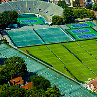 Aerial views of Flushing Meadows Park, Bill Jean Training Facility, US Tennis Association