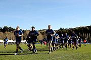 Otago jog off the field prior to the Ranfurly Shield match between Otago and North Otago, held at Whitestone Contracting Stadium, Oamaru, New Zealand, 26 July 2019. Credit: Joe Allison / www.Photosport.nz