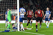 Goal - Callum Wilson (13) of AFC Bournemouth runs away to celebrate after he scores a goal to give a 2-0 lead during the Premier League match between Bournemouth and Brighton and Hove Albion at the Vitality Stadium, Bournemouth, England on 21 January 2020.