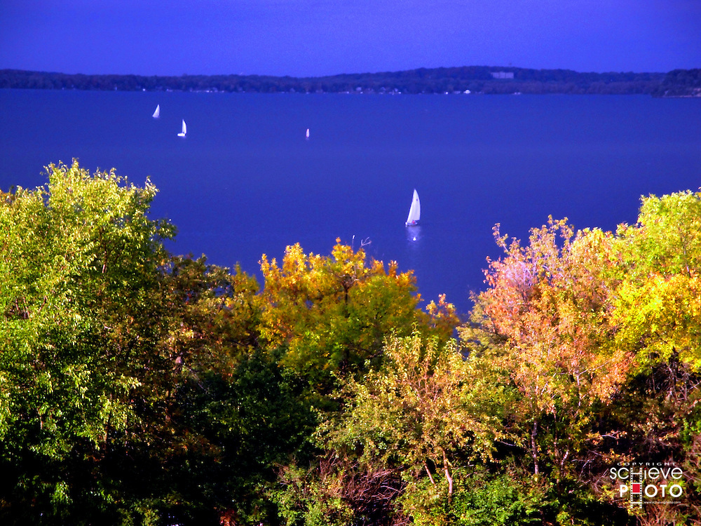 Overlooking Lake Mendota from Observatory Hill on the University of Wisconsin-Madison campus.