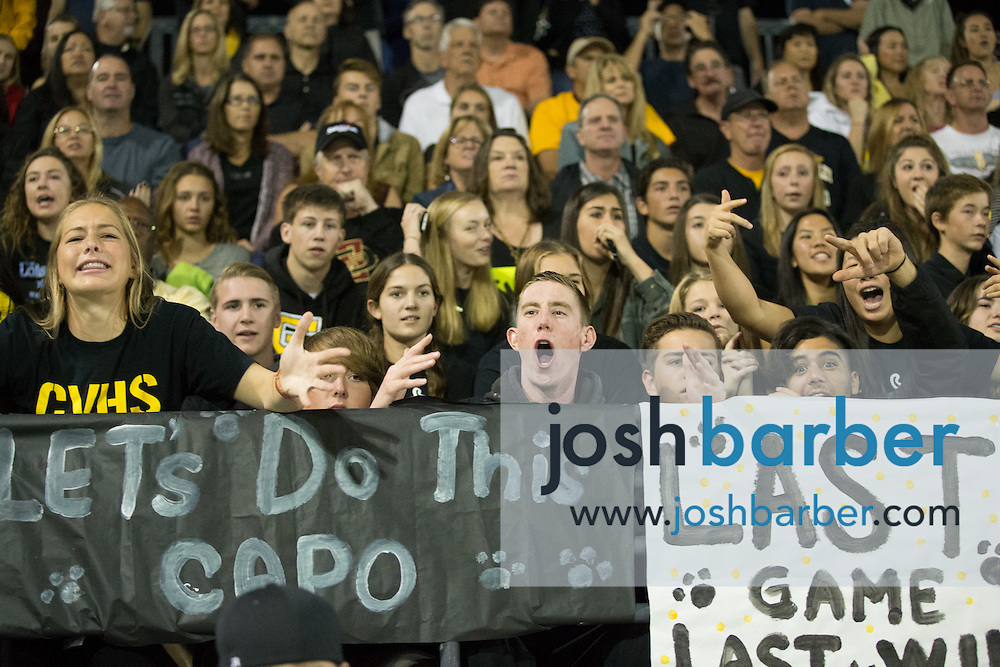 Capistrano Valley fans during the CIF-SS Division 3 Boys Water Polo Finals at Woollett Aquatic Center on Saturday, November 21, 2015 in Irvine, California. (Photo/Josh Barber)
