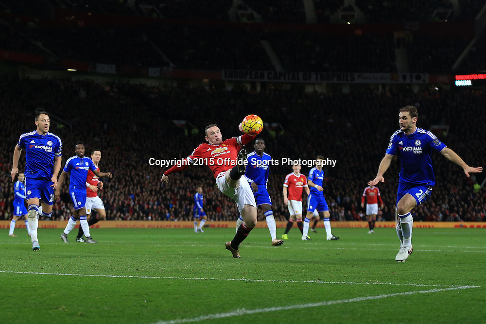 16 December 2015 - Barclays Premier League - Manchester United v Chelsea - Wayne Rooney of Manchester United stretches to control the ball - Photo: Marc Atkins / Offside.