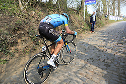 Magnus Cort Nielsen (DEN) Astana Pro Team climbs the Koppenberg during the 2019 Ronde Van Vlaanderen 270km from Antwerp to Oudenaarde, Belgium. 7th April 2019.<br /> Picture: Eoin Clarke | Cyclefile<br /> <br /> All photos usage must carry mandatory copyright credit (© Cyclefile | Eoin Clarke)