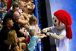 Mascot with fans during basketball match between National teams of Slovenia and Lithuania in First Round of U20 Men European Championship Slovenia 2012, on July 14, 2012 in Domzale, Slovenia. Slovenia defeated Lithuania 87-81. (Photo by Vid Ponikvar / Sportida.com)