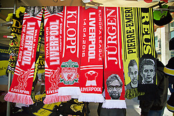 DORTMUND, GERMANY - Thursday, April 7, 2016: Liverpool and Borussia Dortmund scarves on sale in Dortmund city centre ahead of the UEFA Europa League Quarter-Final 1st Leg match. (Pic by David Rawcliffe/Propaganda)