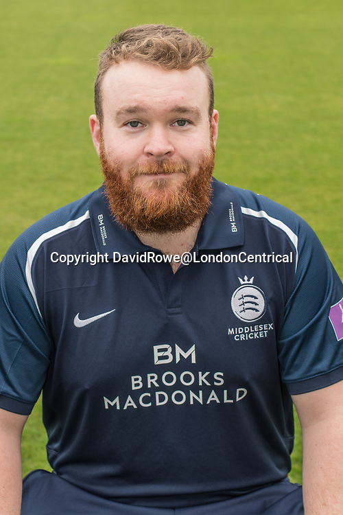 11 April 2018, London, UK.  Paul Stirling of Middlesex County Cricket Club in the   blue Royal London one-day kit . David Rowe/ Alamy Live News