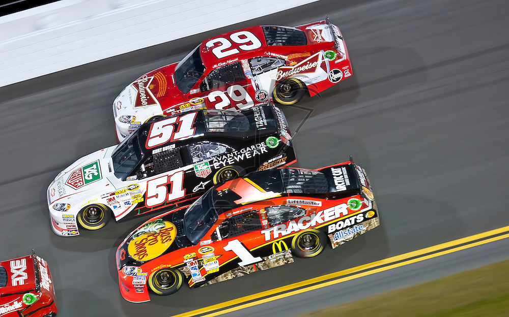 Daytona Beach, FL - Feb 18, 2012:  Jamie McMurray (1) brings his Bass Pro Shops Tracker Boats Chevrolet through the turns during the Budweiser Shootout at the Daytona International Speedway in Daytona Beach, FL.