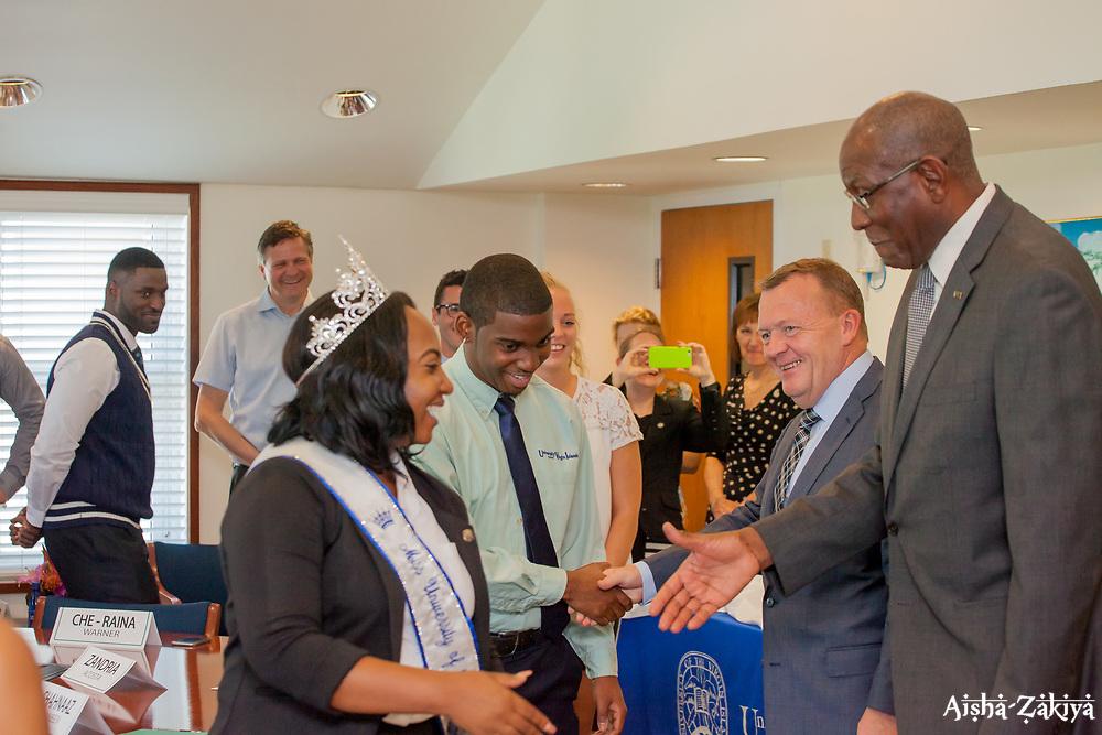 University of the Virgin Islands president Dr. David Hall receives Danish Prime Minister Lars Løkke Rasmussen during his visit to the US Virgin Islands for its Centennial Transfer Commemoration.  1 April 2017.  © Aisha-Zakiya Boyd.