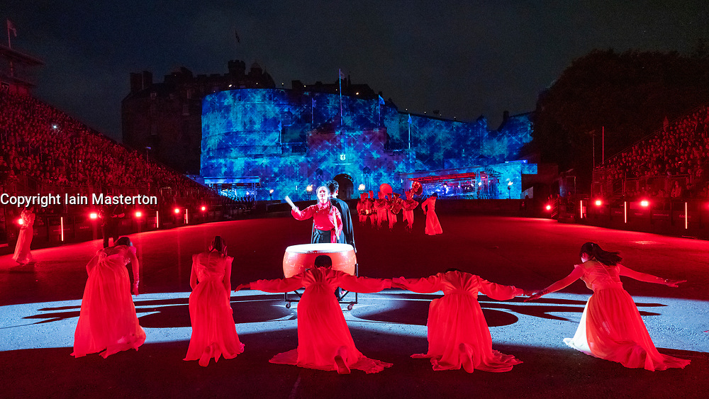 Edinburgh, Scotland, UK. 1 August, 2019. Preview opening night of the 2019 Royal Edinburgh Military Tattoo, performed on the esplanade at Edinburgh Castle. This is the Tattoo's 69th year and it runs from 2-24 August. Pictured Beijing Marching Wind Band and Cultural Display