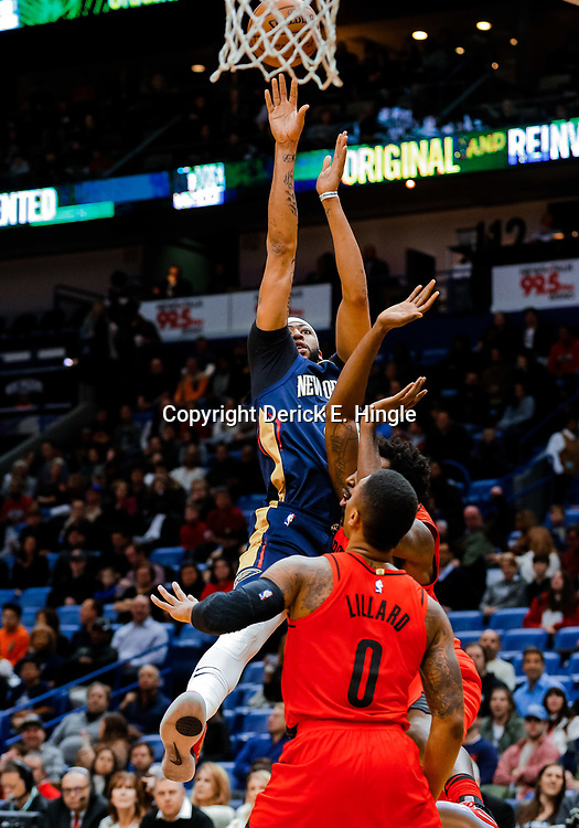 Jan 12, 2018; New Orleans, LA, USA; New Orleans Pelicans forward Anthony Davis (23) shoots over Portland Trail Blazers forward Al-Farouq Aminu (8) during the first quarter at the Smoothie King Center. Mandatory Credit: Derick E. Hingle-USA TODAY Sports