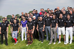 MikeTindall with other players at a  celebrity golf event  in aid of Rugby for Heroes at Celtic Manor,Wales, United Kingdom, Monday, 19th May 2014. Picture by  i-Images