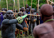 A fighter can challenge whoever he wants to a duel and hit any part of his opponent's body. The only rule is that is forbidden to hit a your opponent when he's down. One of the main Surma / Suri customs is stick fighting. This ritual and sport is called Donga or Sagenai (Saginay). Stick fighting is basic in Suri culture. In most cases, stick fighting is a way for warriors to find girlfriends, it can also be a way to settle conflicts. On this occasion men  show their courage, their virility and their resistance to pain, to the young women. The fights are held between Suri villages, and begin with 20 to 30 people on each side, and can end up with hundreds of warriors involved. Suri are famous for stick fighting, as their neighbor tribe, the Mursi, also practice these traditional fights.