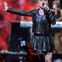 P!nk performs at iHeart Radio Music Festival on Saturday, Sept., 22, 2012 at the MGM Grand Arena in Las Vegas. (Photo by Eric Reed/Invision/AP)