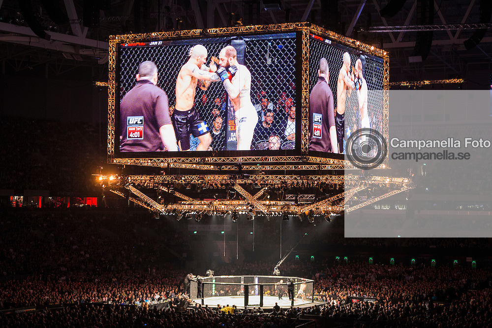 STOCKHOLM, SWEDEN - JANUARY 24: View of the Octagon from the second terrace in Tele2 Arena during the fight between Sam Sicilia of the United States and Akira Corassani of Sweden on January 24, 2015 in Stockholm, Sweden. (Photo by Michael Campanella/Zuffa LLC/Zuffa LLC via Getty Images)