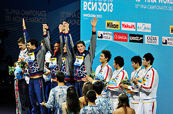 02.08.2013, Barcelona, ESP, FINA, Weltmeisterschaften für Wassersport, Medailliengewinner, im Bild Usa team with Dwyer, Lochte, Houchin, Berens, celebrate the victory at 4x200 Freestyle Relay Men Finalist Victory Ceremony // during the FINA worldchampionship of waterpolo, medalists in Barcelona, Spain on 2013/08/02. EXPA Pictures © 2013, PhotoCredit: EXPA/ Pixsell/ HaloPix<br /> <br /> ***** ATTENTION - for AUT, SLO, SUI, ITA, FRA only *****